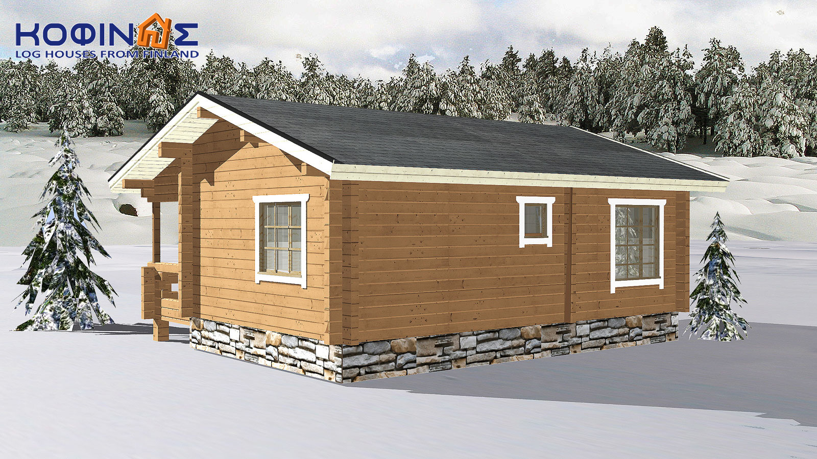 1-story log house XI-24, total surface of 24,50 m²