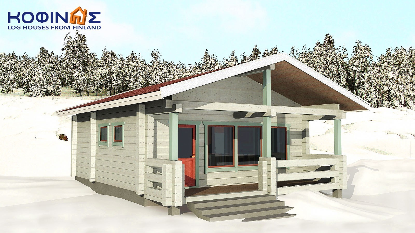 1-story log house XI-26, habitable space of 26,50 m²