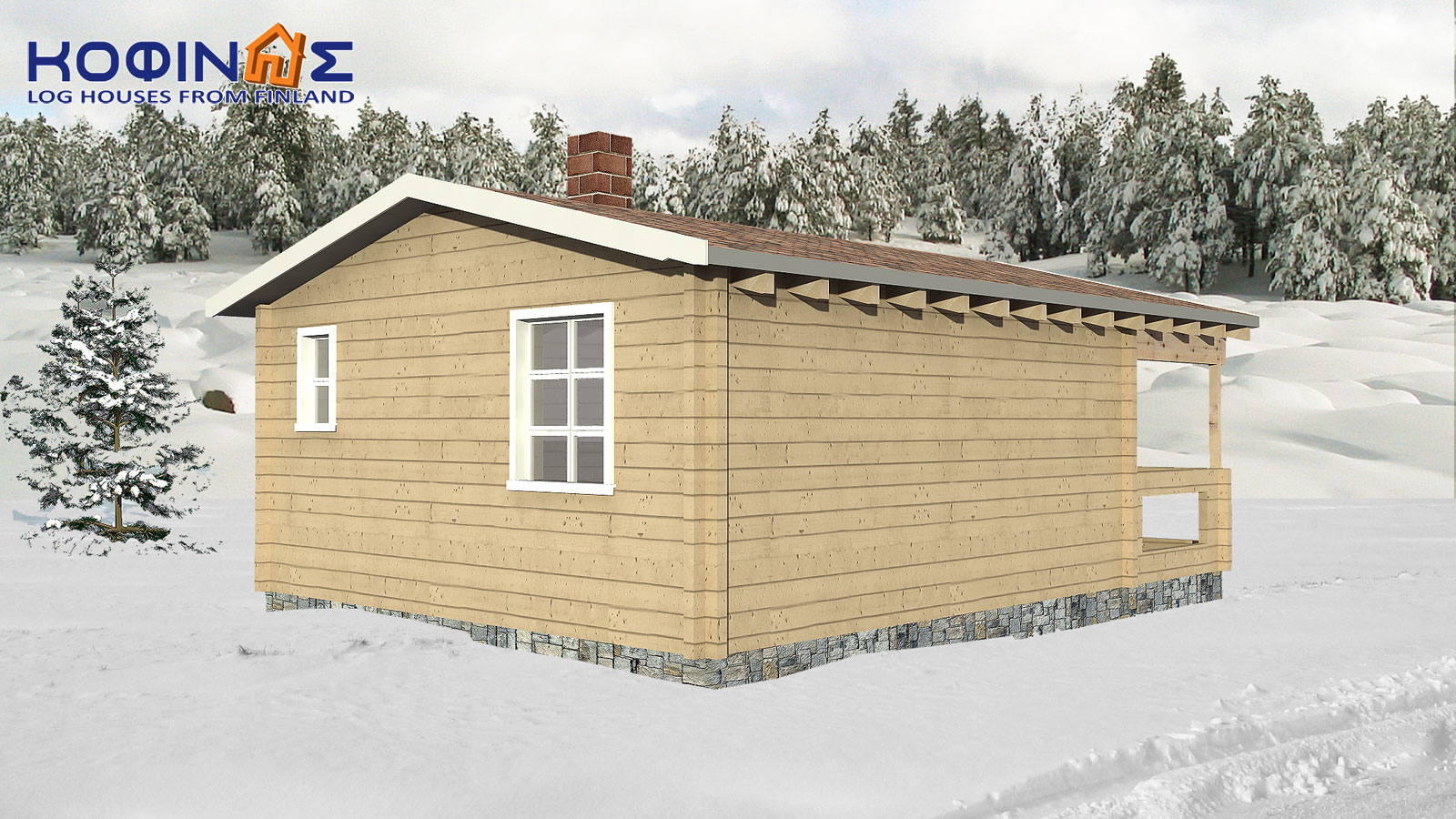 1-story log house XI-28, habitable space of 28,00 m²