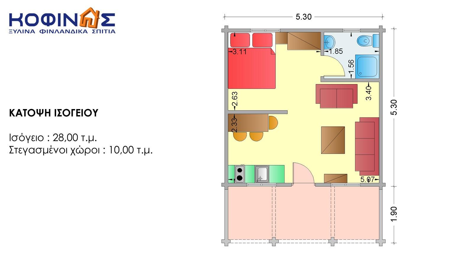 Ισόγεια Ξύλινη Κατοικία XI-28, συνολικής επιφάνειας 28,00 τ.μ.