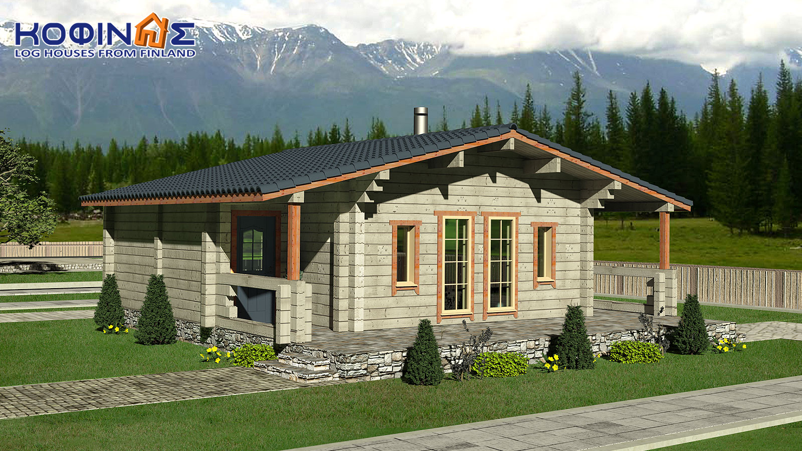 1-story log house XI-69, total surface of 69,00 m²0