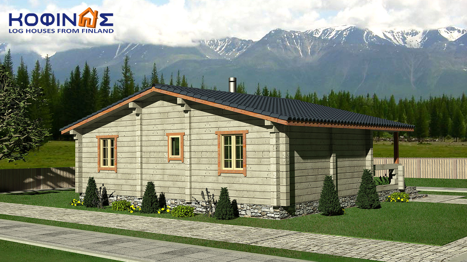 1-story log house XI-69, total surface of 69,00 m²1