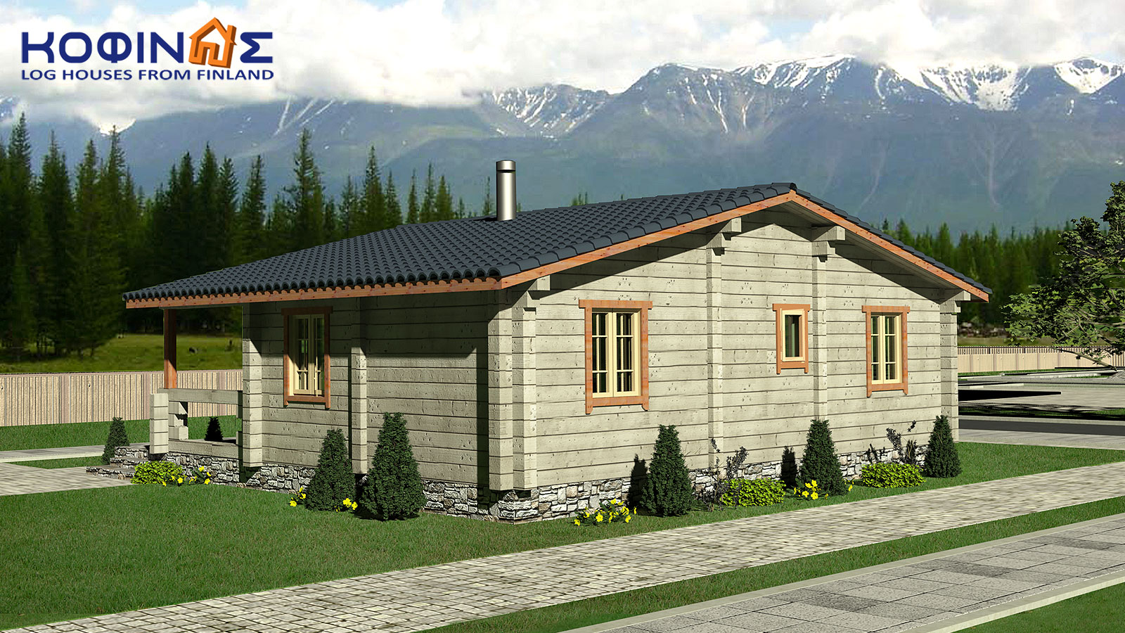 1-story log house XI-69, total surface of 69,00 m²