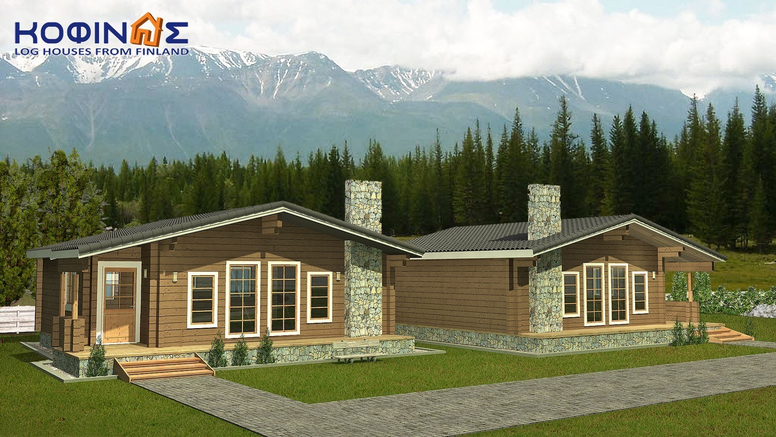 Complex of 2 log houses XI-71, habitable space of 2 x 71 = 142,00 m²