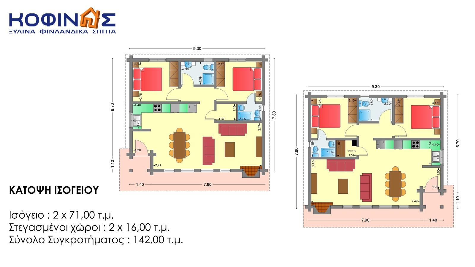 Συγκρότημα Ξύλινων Kατοικιών XI-71, συνολικής επιφάνειας 2 x 71,00 = 142,00 τ.μ.