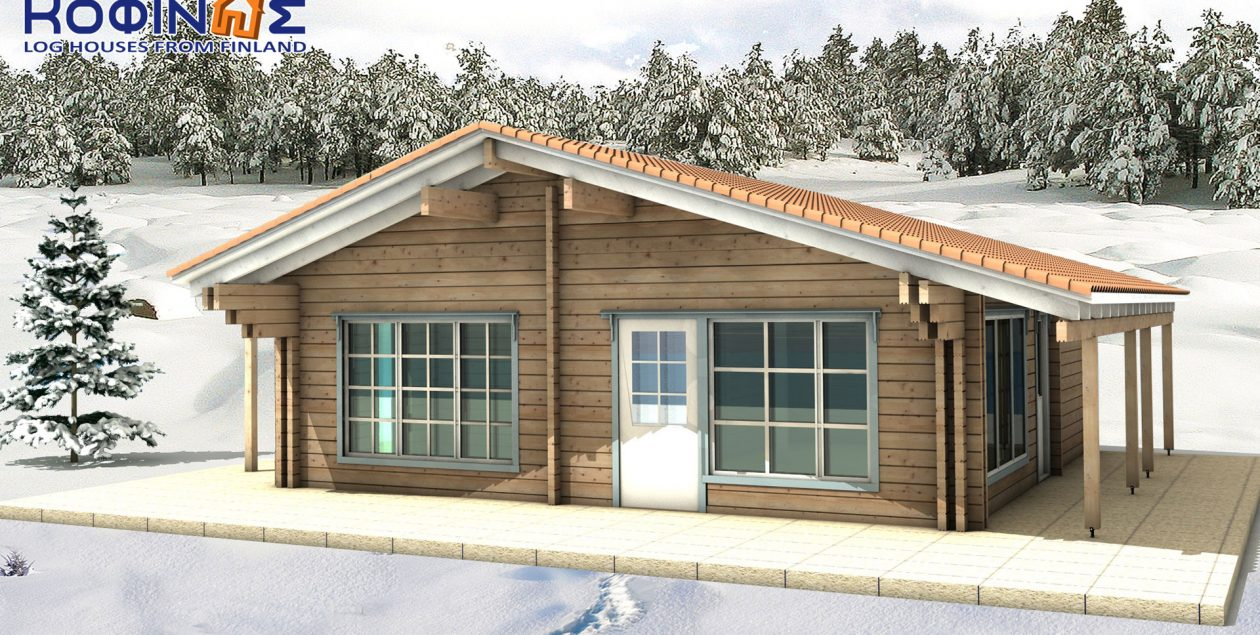 1-story log house XI-75, total surface of 75,60 m² featured image