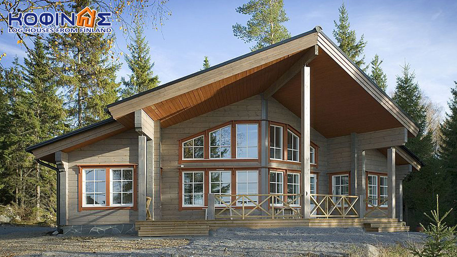 1-story log house XI-86, total surface of 86,70 m²