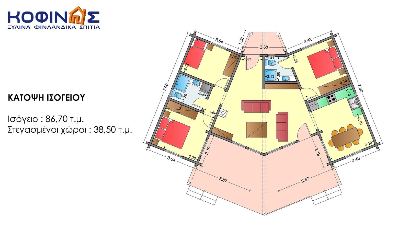 Ισόγεια Ξύλινη Κατοικία XI-86, συνολικής επιφάνειας 86,70 τ.μ.