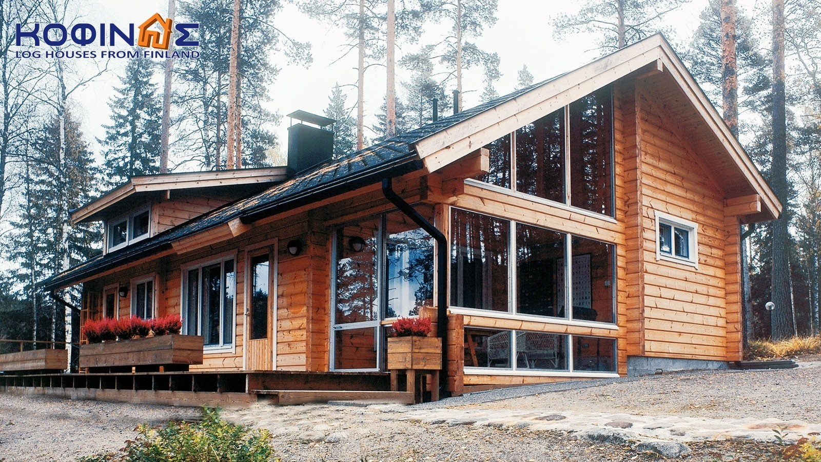 1-story log house XI-90, total surface of 90,00 m²
