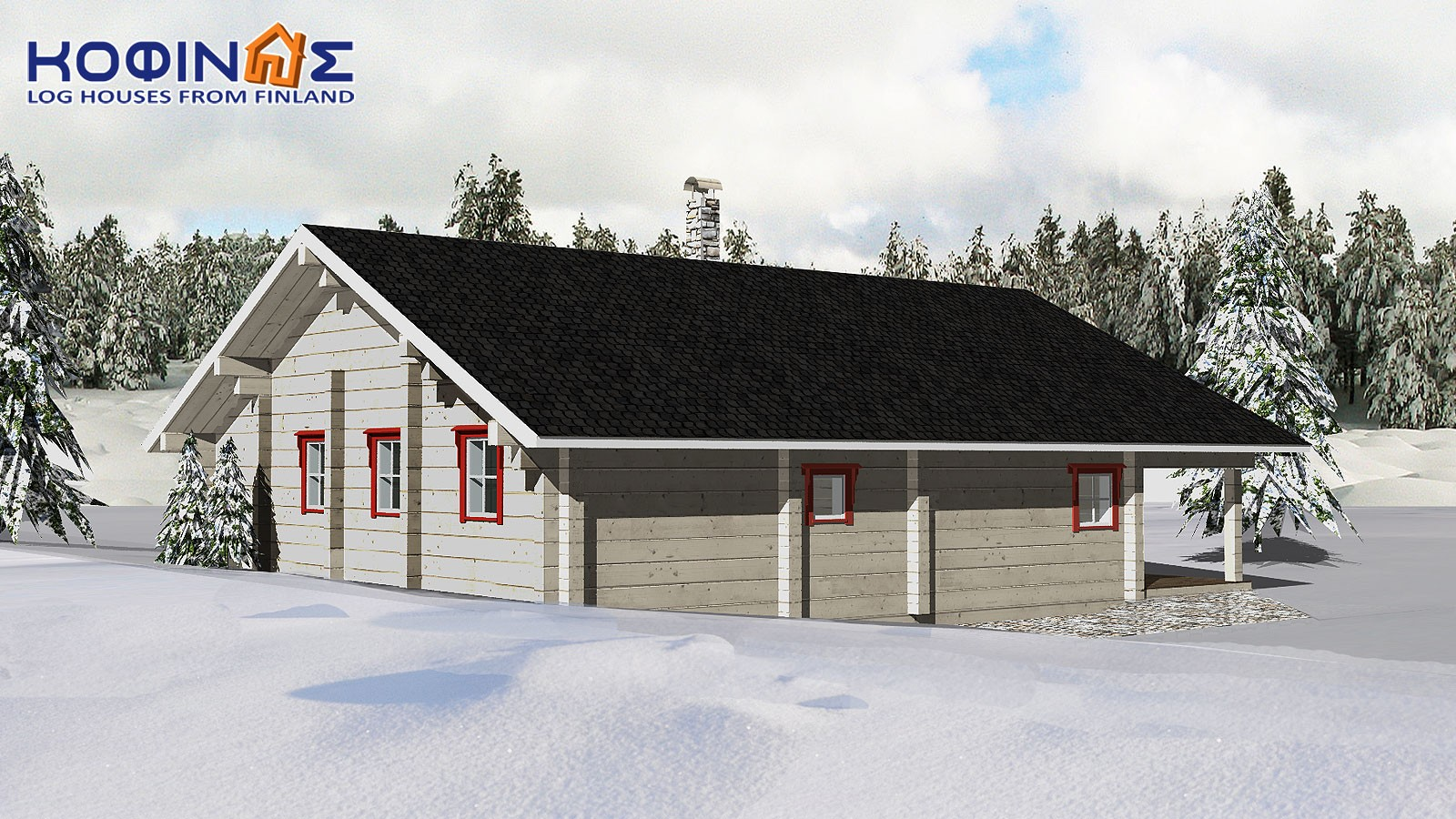 1-story log house XI-92, total surface of 92,00 m²