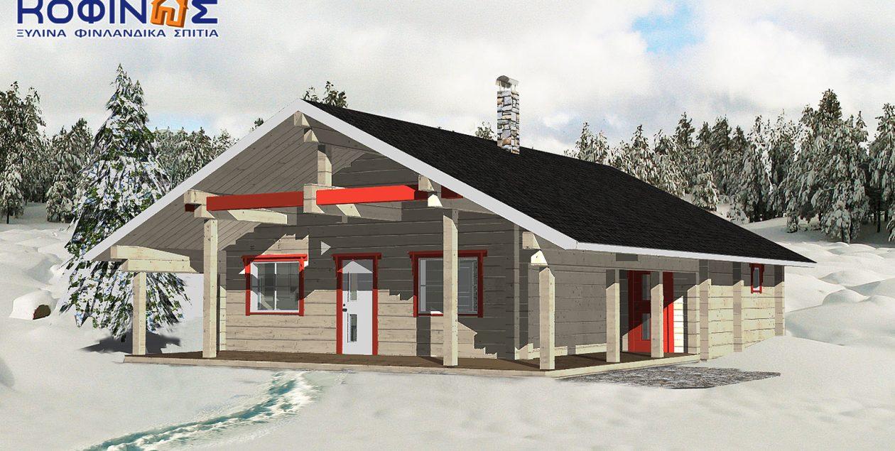Ισόγεια Ξύλινη Κατοικία XI-92, συνολικής επιφάνειας 92,00 τ.μ. featured image