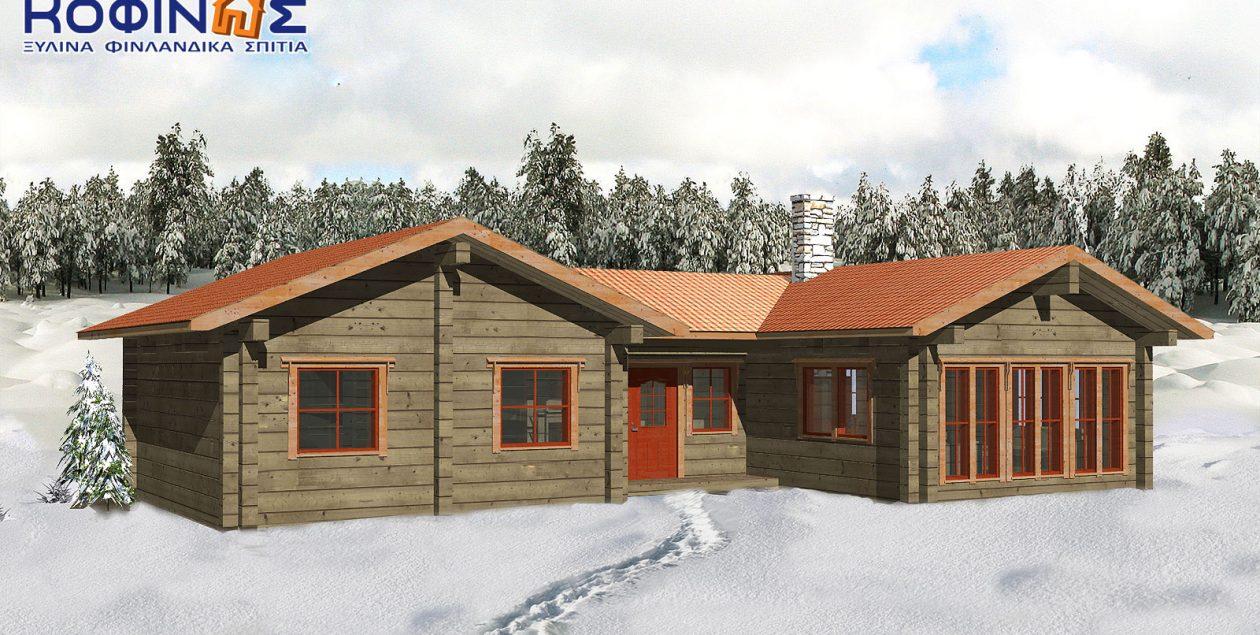 Ισόγεια Ξύλινη Κατοικία XI-95, συνολικής επιφάνειας 95,00 τ.μ. featured image