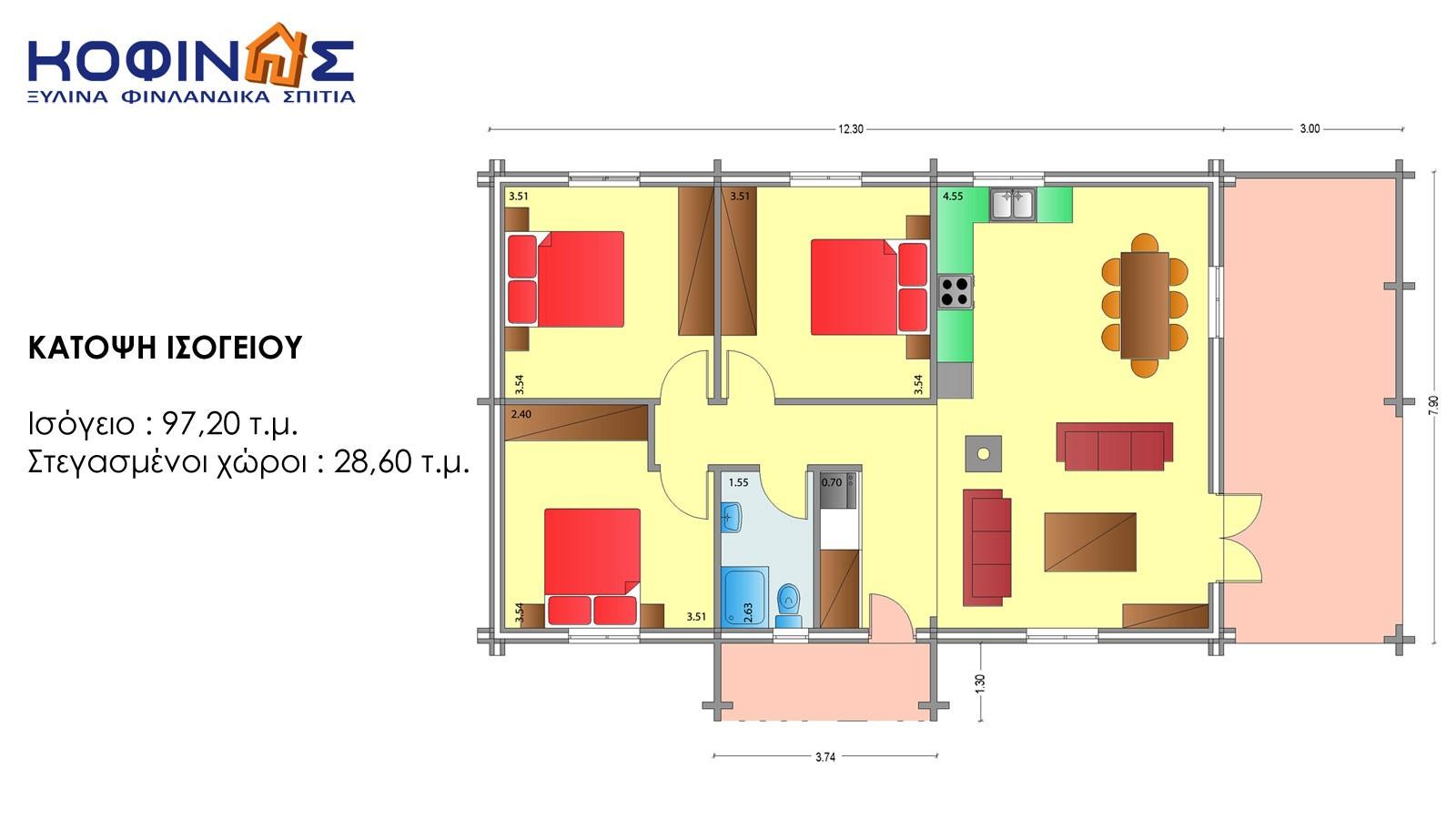 Ισόγεια Ξύλινη Κατοικία XI-97a, συνολικής επιφάνειας 97,20 τ.μ.